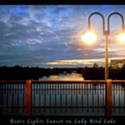 Boat, Lights, Sunset On Lady Bird Lake Art Print