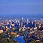 1 Boathouse Row Philadelphia Pa Skyline Aerial Photograph Art Print
