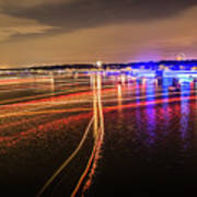 Boats Light Trails On Lake Wylie After 4th Of July Fireworks Art Print