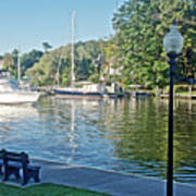 Boats On The Kalamazoo River In Saugatuck, Michigan Art Print
