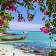 Boats, The Andaman Sea And Hills In Ko Phi Phi Don, Thailand Art Print