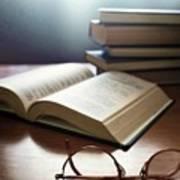 Books And Glasses Art Print