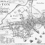 Boston Map, 1722 Art Print