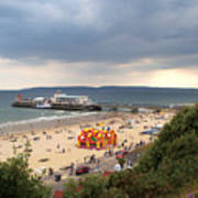 Bournemouth Pier And Beach Art Print