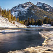 Bow River With Mountain View Banf National Park Art Print