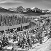 Bow Valley River View Black And White Art Print