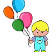 Boy With Balloons Art Print
