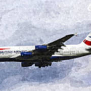 British Airways Airbus A380 Art Art Print