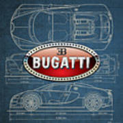 Bugatti 3 D Badge Over Bugatti Veyron Grand Sport Blueprint  Art Print