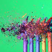 Bullet Hitting Crayons Art Print