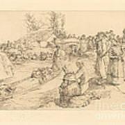 Burial In The Vendeen Marsh (un Enterrement Dans Le Marais Vendeen) Art Print