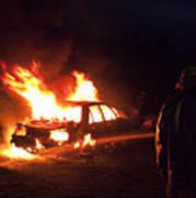 Burning Car And Fireman Art Print