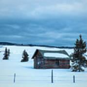 Cabin In The Snow Art Print