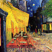 Cafe Terrace Place Du Forum At Night Art Print by Vincent Van Gogh