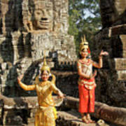 Cambodian Dancers At Angkor Thom Art Print
