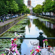 Canal And Decorated Bike In The Hague Art Print