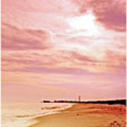 Cape May New Jersey, Sunset With Lighthouse In The Distance Art Print