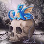 Captive Dragon On An Old Skull Art Print