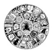 Cat Mandala Black And White Art Print