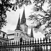 Cathedral Basilica - Square Bw Art Print