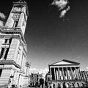 chamberlain memorial in chamberlain square with Birmingham museum and art gallery and town hall UK Art Print