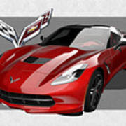 Chevrolet Corvette  C 7  Stingray With 3 D Badge  Art Print