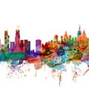 Chicago And New York City Skylines Mashup Art Print