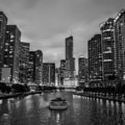 Chicago River Sunset Art Print
