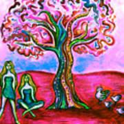 Chica's Y Pollos-blush Art Print by Brenda Higginson
