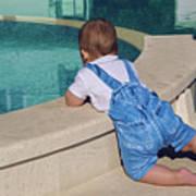 Child In A Denim Suit Sits Art Print
