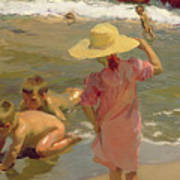 Children On The Seashore Art Print by Joaquin Sorolla y Bastida