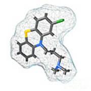 Chlorpromazine, Molecular Model Art Print