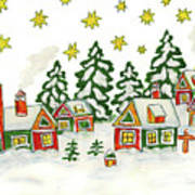 Christmas Picture In Green And Yellow Colours Art Print