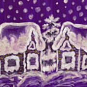Christmas Picture On Crimson Background Art Print
