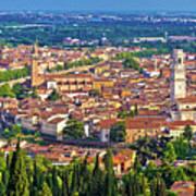 City Of Verona Old Center And Adige River Aerial Panoramic View Art Print