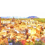 Cityscape With Mountain Art Print