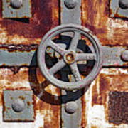 Close Up View Of An Unusual Door That Is Part Of An Old Rundown Building In Katakolon Greece Art Print