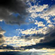 Clouded Sun Rays Art Print