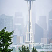 Cloudy And Foggy Day With Seattle Skyline Art Print