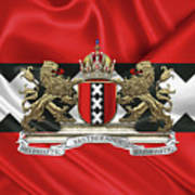 Coat Of Arms Of Amsterdam Over Flag Of Amsterdam Art Print
