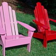 colorful Adirondack chairs Art Print