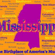 Colorful Mississippi State Pride Map Silhouette  Art Print