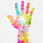 Colorful Painting Of Hand Art Print