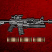 Colt  M 4 A 1  S O P M O D Carbine With 5.56 N A T O Rounds On Red Velvet  Art Print