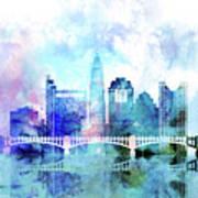 Columbus  Watercolor Skyline Art Print