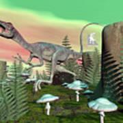 Compsognathus Dinosaur - 3d Render Art Print