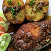 Cordon Bleu Breaded Fried Chicken Gravy And Potatoes Meal Art Print