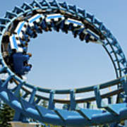 Cork-screw Rollercoaster And Ferris-wheel Art Print