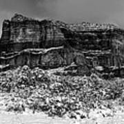 Courthouse Butte And Bell Rock Under Snow Art Print