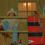 Cowboy On Porch Art Print